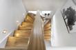Leinwanddruck Bild - Treppenstufen Holztreppe Wohnung