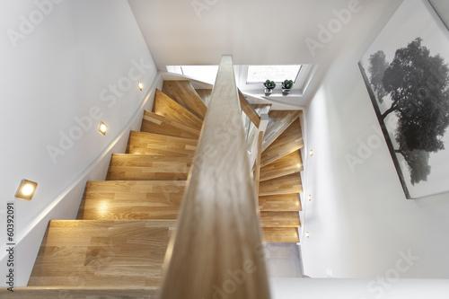 Leinwanddruck Bild Treppenstufen Holztreppe Wohnung