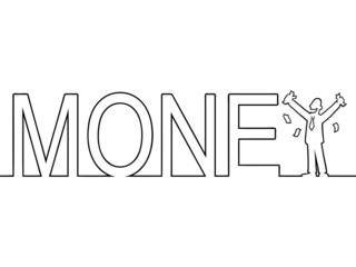 Black line art of the word 'MONEY' with a man in it.