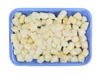 Bay Scallops Blue Styrofoam Tray