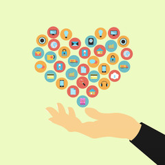 hand holding applications graphical user interface flat icons