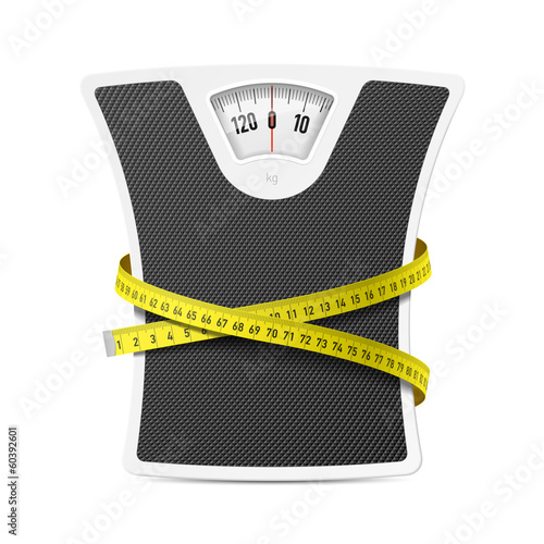 Bathroom scale with measuring tape - 60392601