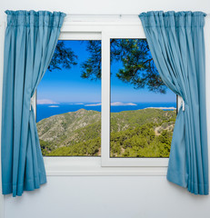 nature landscape with a view through a window with curtains