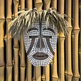 composition with African Woyo mask 3d illustrated