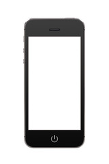 Black modern mobile smart phone with blank screen