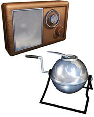 Old radio and old washing machine set
