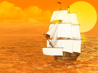 Sunset and sailing ship