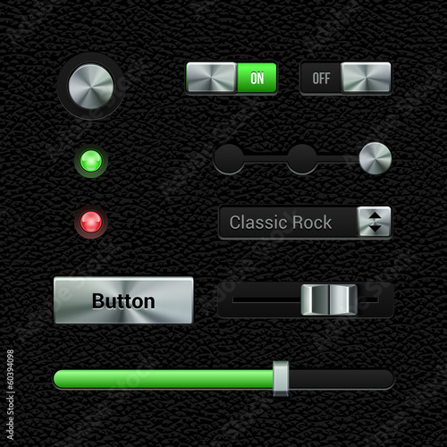 UI Application Metal Software Controls Set.