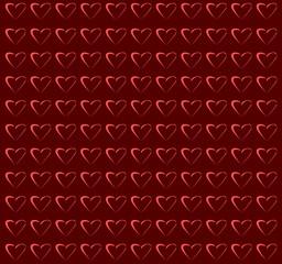Cuori su sfondo rosso