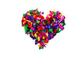 сердце из разноцветной конфетти, изолированные на белом фоне