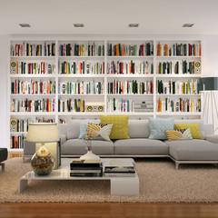Wohnzimmersofa und Bücherregal - Sofa in front of a bookshelf