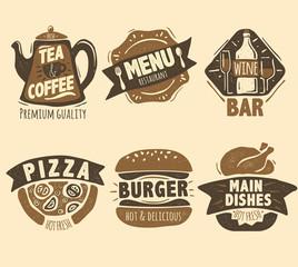 Restaurant badges set