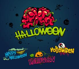 Halloween horror design set