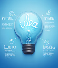 Creative design template with light bulb