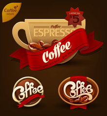 Coffee badges set. Vector