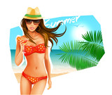 Hot girl on a beach. Vector illustration