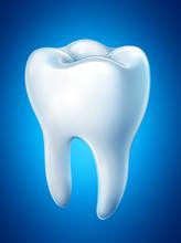 Ząb na niebieskim tle. Wektor