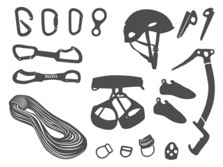 Climbing items vector set