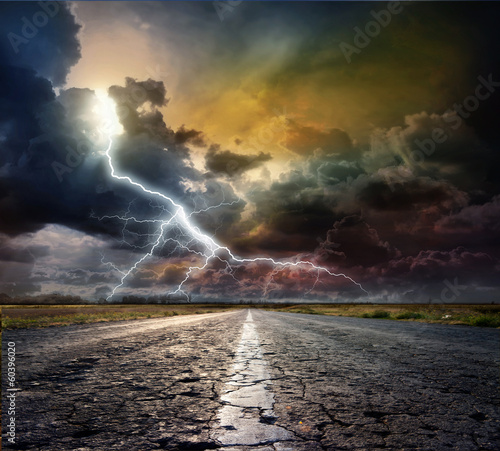 country road with lightning