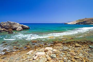 Rocky beach with blue lagoon on Crete, Greece