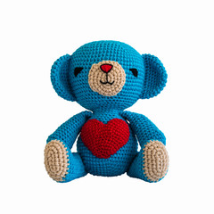 handmade crochet blue bear doll