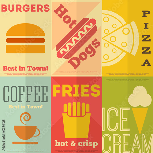 Retro fast food posters collection