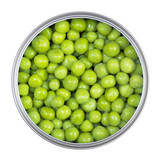 Green peas in can on a white background