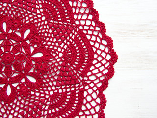 Red crochet doily