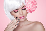 Makeup. Manicured nails. Fashion Beauty Model Girl portrait with