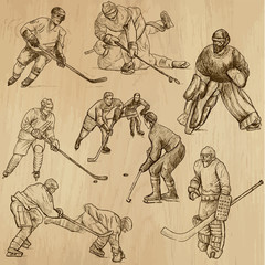 Ice Hockey 2 - hand drawings into vector set