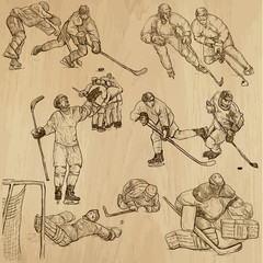 Ice Hockey 1 - hand drawing into vector set