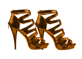 Women's shoes golden colors. collage