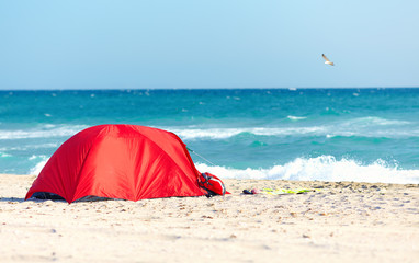 camping on sandy beach