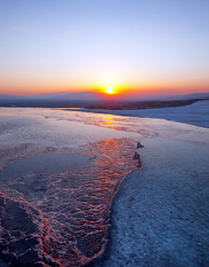 beautiful sunset and Natural travertine pools