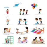 Children On The Playground - Isolated On White Background