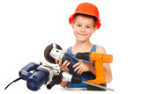 little boy with a set of tools poster