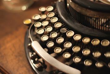 Old vintage retro wooden typewriter