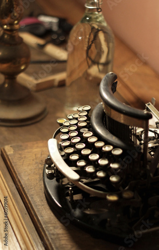 Old vintage retro wooden typewriter
