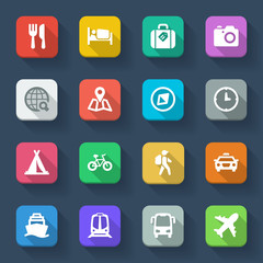 Travel flat icons. Colorful