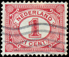 NETHERLANDS - CIRCA 1898: Netherlands Stamp Numeral 1 Cent, circ