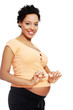 Pregnant woman breaking a cigarette