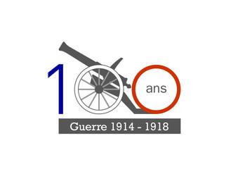 Logo 100 ans bleu blanc rouge - canon - guerre de 1914 - 1918