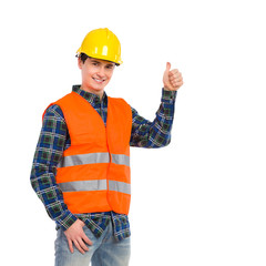 Construction worker in reflective clothing and showing thumb up.