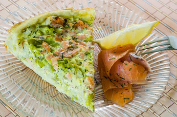 Homemade leek and salmon quiche
