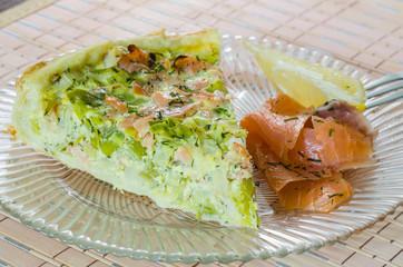 Homemade leek and salmon quiche