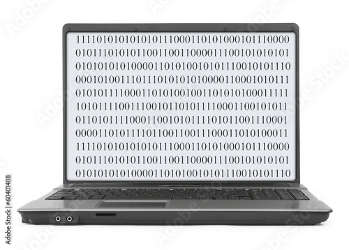 Laptop with abstract binary code
