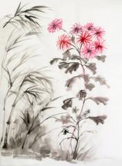 Chrysanthemum and bamboo