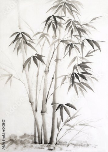 Watercolor painting of bamboo - 60401807
