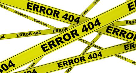Желтая сигнальная лента с надписью ERROR 404