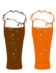 dark and light beer glasses